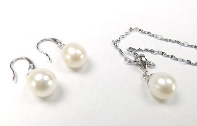 zilver parel hanger en oorbellen